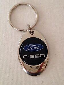 Ford F250 Truck keychain Lightweight Metal Shiny Chrome Style Finish key chain