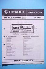 Manuel de reparation pour Hitachi D-W800 ,ORIGINAL