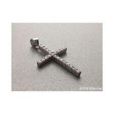 Kreuz Anhänger Kommunion Taufe Konfirmation 925 echt Silber mit Zirkonia Steinen