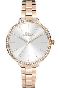 s Oliver Uhr Uhren Damenuhr SO-4097-MQ rosegoldfarben Strass Armbanduhr NEU