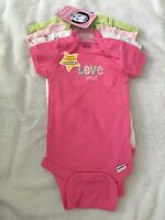 NWT Gerber newborn 0-3 months 4 pack one piece infant bodysuit animal i love you