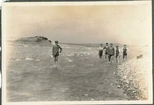 CUCKMERE HAVEN SUSSEX - SCHOOLBOYS IN CAPS PADDLING IN THE WATER - OLD PHOTO