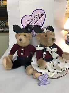 2 Vintage Mousekebears Disney Annette Funicello Mouseketeer Mickey Teddy Bears