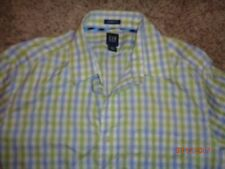 Men's Button front shirt by GAP Size Large Green, blue and white