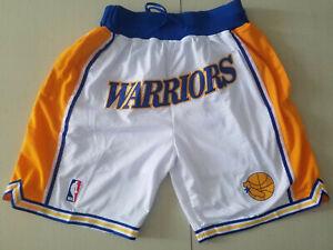 Golden State Warriors Retro White Basketball Shorts Size: S-XXL