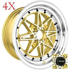Drag Wheels DR-20 15x7 4x100 +10 Gold Machined Face Rims Miata XB Eg Ek Integra
