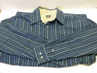 Haggar Large blue striped Men's Long sleeve dress shirt nice quality feel
