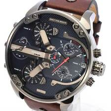 NEW DIESEL DZ7314 Mr Daddy Mens Watch Brown Leather Navy Blue Dial Chronograph
