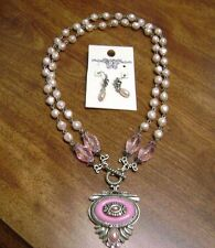NWOT- PINK BEADED BAROQUE  PEARL  PENDANT/ NECKLACE, PEARL PIERCED EARRING SET