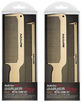 2 SETS Babyliss PRO Metal Comb Set Hair Barber GOLDFX Clipper Cutting Comb Gold