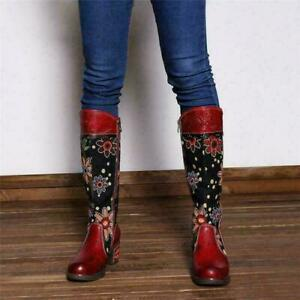 Boho Women Flower Splicing Genuine Leather Knee High Boots Cowboy Zip  Boots sz