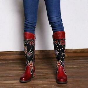 Boho Women Flower Splicing Genuine Leather Knee High Boots Cowboy Zip  Boots sz