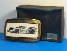 SNAP ON TOOLS BELT BUCKLE ORIGINAL CASE BOX SOLID BRASS INDY CAR RACING PENNZOIL
