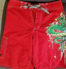 Boys Mossimo Swim Shorts Trunks/ Sz: M(8) / Red With Dragon/ Excellent Condition