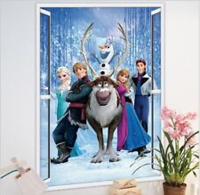 Frozen Elsa Anna Olaf Kristoff Sven Hans 3D Window Wall Stickers Art Nursery kid