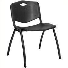 Flash Furniture Hercules Plastic Contoured Back Stacking Chair in Black
