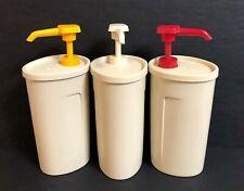 Tupperware Condiment, Soap, Sanitizer Pump Dispensers #640 & #1553 - Set of 3
