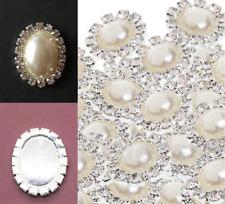 10 Oval Cream Faux Pearl Diamante Crystal Embellishments 15 mm x 17 mm Craft DIY