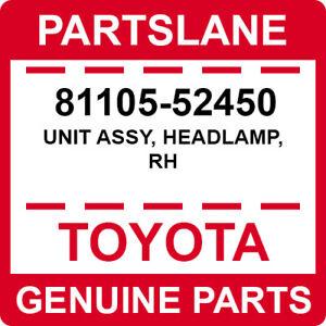 81105-52450 Toyota OEM Genuine UNIT ASSY, HEADLAMP, RH