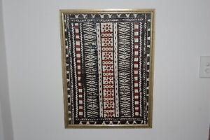 "Traditional stretched & framed  Fijian ""Masi"" design & imagery ""Kesakesa""."