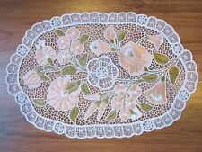"""Hungarian Hand Embroidered Lace Kalocsa Floral Pink Tablecloth 16""""x10"""""""