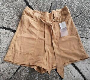 Stradivarius Join Leben/ZARA Sand/dunkel beige Shorts Paperbag Belted S UK 8 10