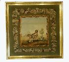 A Superb Framed Antique Tapestry Depicting a Bird