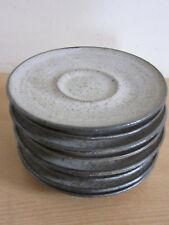 "Set of 8 vintage Louis Mendez, NY stoneware studio pottery saucers 5 3/8"""