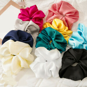Women Candy Color Elastic Scrunchies Hair Rubber Band Satin Silk Ponytail Holder