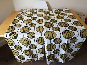 Ikea Curtains Cream, Green and Black size 55 x 52