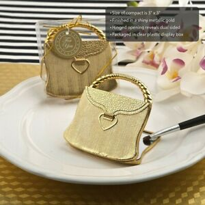 40 Gold Purse Design Compact Mirror Wedding Bridal Shower Party Favors