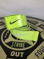 "Nike Golf Mens Tech Essentials Web Belt Adjustable Volt Neon Green Swoosh 44"""