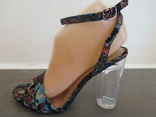 Women's Block High Heels Ankle Strap Clear Black Fabric Sandals 8.5 NIB
