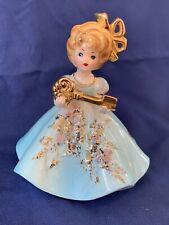 Vintage Josef Originals Girl Figurine with Blue Dress Holding Gold Key