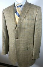 Brooks Brothers Sport Coat Blazer 44 L Wool/Silk/Linen Tan Houndstooth Window