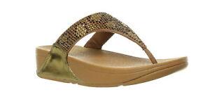 FitFlop Womens Lulu Leopard-Crystal Bronze Flip Flops Size 7