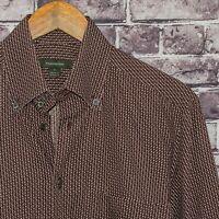 Ermenegildo Zegna Men's Button Down Shirt Brown Geo Print Cototn Size Medium