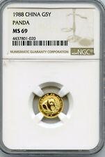 1988 China Gold Panda 5 Yuan NGC MS 69