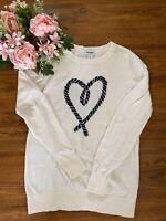 Old Navy Women's 100% Cotton Cream W Heart Pullover Long Sleeve Sweater SZ XS
