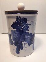 Ceramiche Alfa Blue White Grape/Leaf Covered Storage Jar Or Utensil Holder Italy