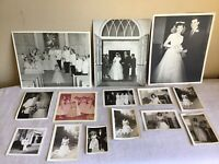 Vintage Mixed Lot Of 14 Black And White Wedding Bridal Photos 1940s-1960s