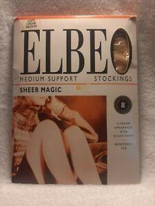 ELBEO Medium Support Sheer Magic Stockings Cafe Creme size M medium BNIP