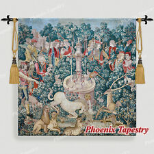 """LARGE Hunt of the Unicorn Medieval Art Tapestry Wall Hanging Cotton 55""""x54"""", US"""