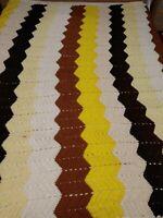 "Vintage Chevron Brown Tan Cream Crochet Afghan Blanket Throw Zig Zag 90""x 72.5"""