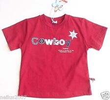 BNWT Boys Cowboy Antoni & Alison Wine Deep Red Cotton T-Shirt Top Age 2-3