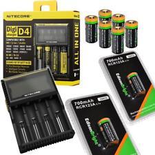 8 X Li-ion RCR123A/16340 rechargeable batteries NITECORE D4 charger EBR70 arlo