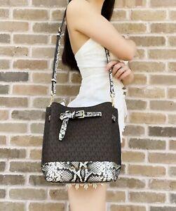 Michael Kors Emilia Small Drawstring Bucket Bag Brown MK Logo Grey Python