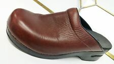 Women's Lands' End Pro Brown Leather Open Back Clogs Shoes 9M EUC