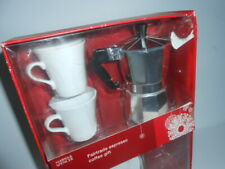 M&S Espresso Coffee Maker Aluminium Pot & 2 X Coffee Cups and Saucers / New