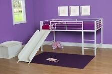 White Junior Loft Bed with Metal Slide Twin Bunk Size Kids Play Furniture FUN